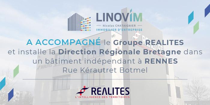 Le Groupe RÉALITÉS installe sa Direction Régionale Bretagne avec un accompagnement par Linovim